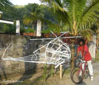 Structures made from bamboo for the Divali festival, Trinidad