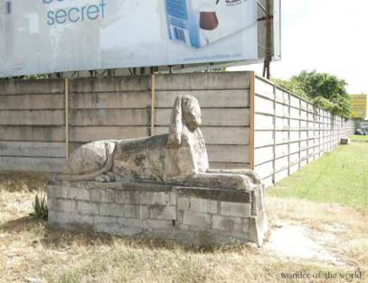 A concrete Androsphinx at the Beetham, Trinidad